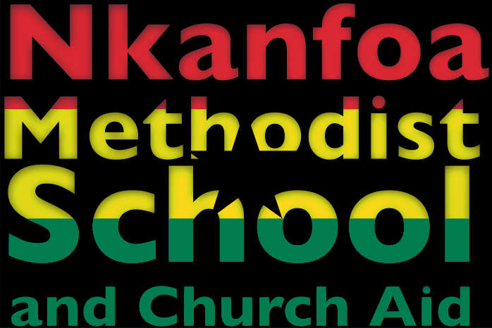 Nkanfoa Methodist School and Church Aid logo. The Ghanaian flag superimposed on the charity's name